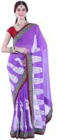 Fashionista Printed Embellished Chiffon Sari
