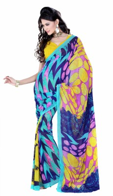 Saree Swarg Striped Georgette Sari