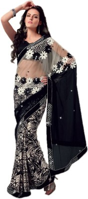 Fabdeal Printed Embroidered Embellished Net Sari available at Flipkart for Rs.4489
