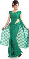 Designersareez Floral Print Chiffon, Jacquard Sari