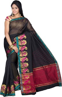 Pavechas Solid Banarasi Cotton, Silk Sari