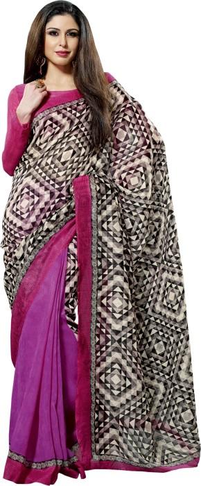 Ishya Solid, Geometric Print Art Silk Sari