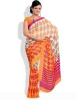 Satrang Floral Print Synthetic Sari