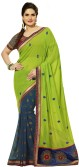 Gehna Saree Self Design, Embriodered Fashion Georgette, Raw Silk, Jacquard Sari