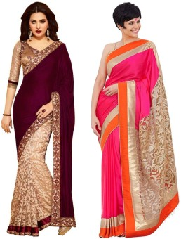 Santana Fashion Solid, Floral Print Embroidered Embellished Brasso Sari (Pack Of 2)