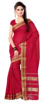 Jayanshi Striped Fashion Handloom Cotton Sari (Red)