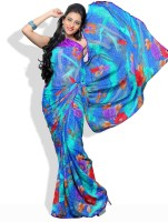 Adaas Floral Print, Striped Synthetic Sari