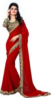 Oomph! Plain, Printed, Geometric Print, Embriodered Bollywood Chiffon Sari Red