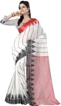 Ishin Striped, Geometric Print Cotton Sari