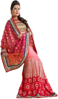 Kuons Avenue Embellished, Embriodered, Self Design, Woven Lehenga Saree Georgette, Brasso, Brocade, Jacquard, Art Silk Sari available at Flipkart for Rs.3499