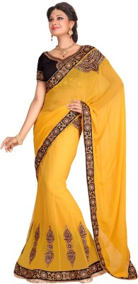 Fabdeal Printed Embroidered Embellished Net Sari available at Flipkart for Rs.6859