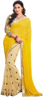 Sareeka Sarees Floral Print, Embriodered Bollywood Satin Sari