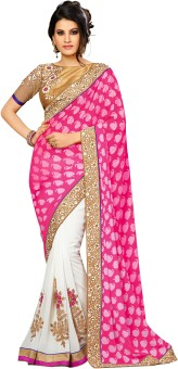 Rajesh Silk Mills Self Design, Embriodered Fashion Georgette, Net Sari