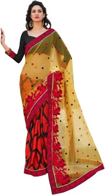 Fabdeal Printed Embroidered Embellished Net Sari available at Flipkart for Rs.4469