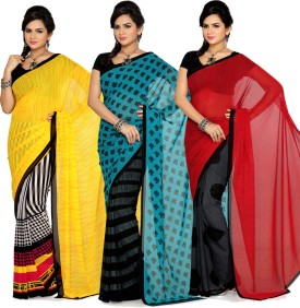 Ishin Printed Georgette Sari (Pack Of 3)