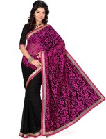 Saree Swarg Floral Print Embellished Georgette, Net Sari