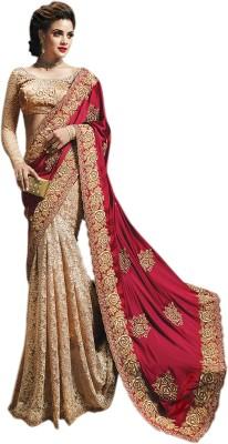 Elijaah Elijaah Self Design Fashion Net, Chiffon Sari (Multicolor)