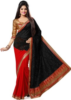 Saree Swarg Floral Print Embroidered Embellished Georgette, Brasso Sari