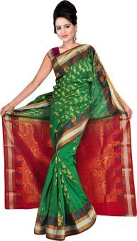 Shatabdi Woven, Self Design Kanjivaram Handloom Silk Sari