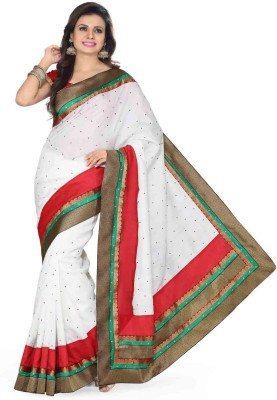 Saree Swarg Self Design Embroidered Embellished Art Silk Sari
