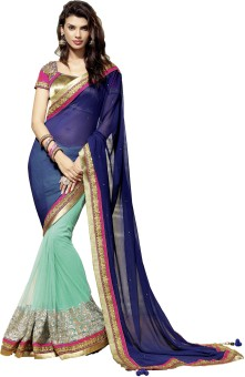 Ruddhi Self Design Embroidered Embellished Georgette, Net Sari