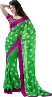 Cbazaar Printed Embroidered Embellished Georgette Sari