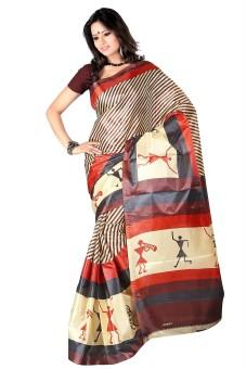 Kajal Sarees Striped Fashion Art Silk Sari