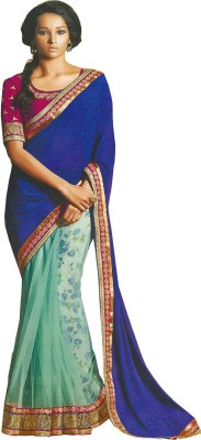 Fabulous Self Design Fashion Georgette Sari (Blue)