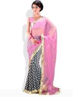 Adaas Striped, Floral Print Silk Sari