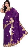 Saree Swarg Self Design Embroidered Embellished Georgette Sari