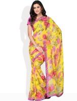 Vichitra Floral Print Synthetic Sari
