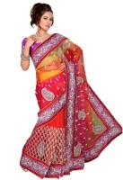 Saree Swarg Printed Embroidered Embellished Net Sari