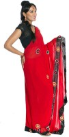moKanc Printed Embellished Georgette Sari