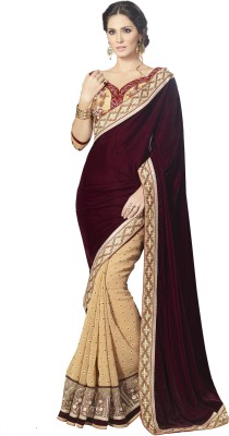 Velvet Natwar Creations Embriodered Fashion Velvet Sari (Violet)