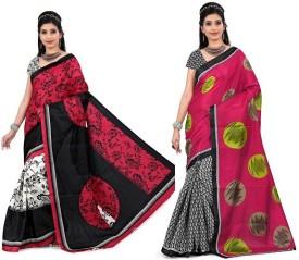 Divazz Printed Bhagalpuri Art Silk Sari Pack Of 2