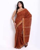 Platinum Checkered Chanderi Sari