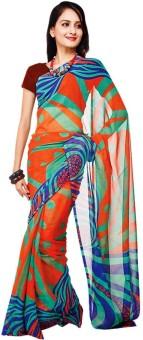 Sukuma Geometric Print, Floral Print, Printed Georgette Sari
