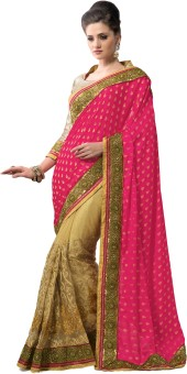 M.S.Retail Self Design Embroidered Embellished Brasso, Net Sari