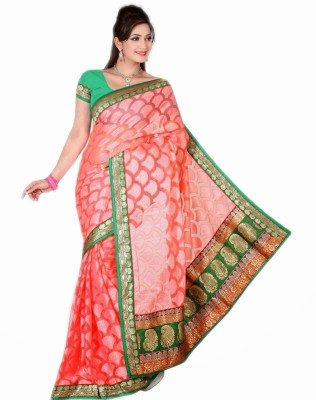 Saree Swarg Striped Net, Jacquard Sari