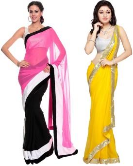 Nairiti Fashions Self Design Fashion Georgette, Georgette Sari Pack Of 2