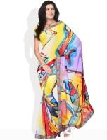 Vichitra Graphic Print Georgette Sari