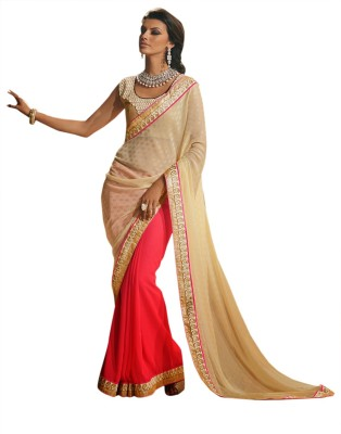 Saree Dotcom Embriodered Fashion Brasso Sari available at Flipkart for Rs.2635