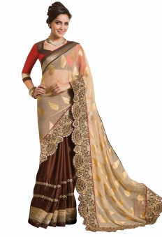 Chirag Sarees Embriodered Fashion Machine Crepe Sari: Sari