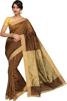 Kavitha Sarees Striped Banarasi Cotton Sari