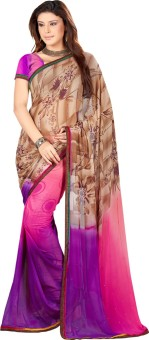 9 Colours Floral Print Fashion Handloom Georgette Sari
