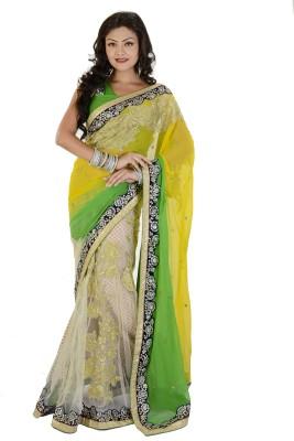 Fashion Panghat Self Design Fashion Georgette, Net Sari (Multicolor)
