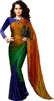 7 Rainbow Printed Embellished Georgette Sari