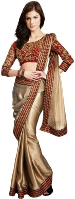 Nj Fabric Self Design Bollywood Silk, Georgette Sari (Yellow)