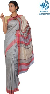 Jharcraft Solid Fashion Handloom Silk Sari (Grey)