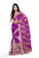 Chirag Sarees Self Design Embroidered Embellished Net Sari